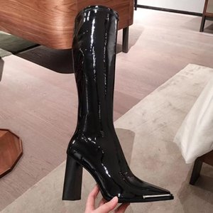 Patent Leather Women Knee High Boots Hot Sale Autumn Winter Ankle Booties Metal Square Toe Female Casual Dress Shoes