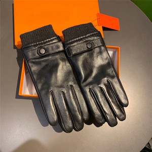 Trendy Winter Leather Gloves Brand Letter Sheepskin Men Mittens Plus Velvet Warm Mittens Touch Screen Gloves Outdoor Cycling Driving Gloves
