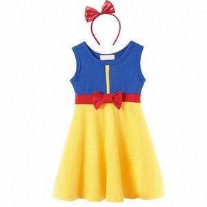 MUABABY 2-7T Elbise Kız Çocuk Yaz Salıncak Pamuk Casual Sundress Çocuk Doğum Kostüm Bow jZiw # ile