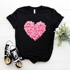 Shirt Ship Print Tshirt T Cotton Casual Women Funny Heart Gift Lady 90s Yong Girl Drop Flower PKT 894 Kamoc