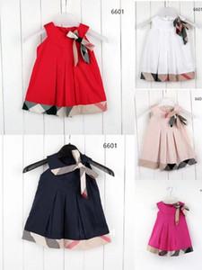 Summer Girls Plaid dress children Bow vest princess dress preppy style kids cotton lattice dress A4788