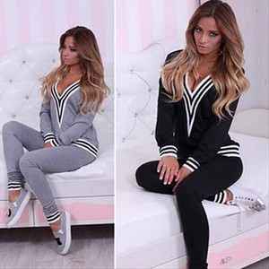 Women Fashion V neck Sweatshirt Set Top Pants Casual Sportsuit Tracksuit OutfitFemmes camisa chemise camicia Mujer Clothes
