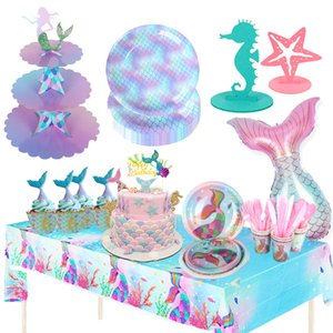 Little Mermaid Supplies Cake Stand Tableware Cup Plate Mermaid Birthday Party Decor Kids Girl Mermaid Party Decoration