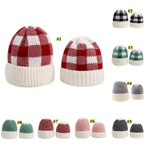 Parent-child Beanie 8 Colors Winter Warm Adult Kids Knitted Caps Outdoor Sports Beanies Plaid Wool Hats Festive Party Hats EWB2730