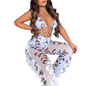 Women's transparent bra pants v-deep neck butterfly print clothes high collar fluid pants summer dress combination