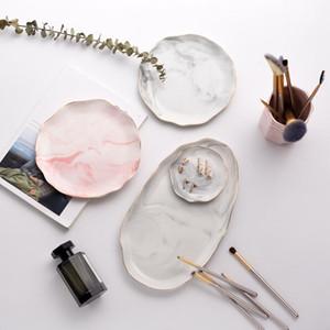 Mermer Tepsi Nordic Yemeği Tabak Çanak Mermer Ruffled Seramik Tatlı Plakalar Set Takı Depolama Tepsi Salatası Kozmetik Dekoratif