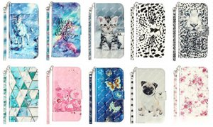 3D Leather Wallet Case For Iphone 11 Pro Max XR XS MAX 8 7 6 5 Wolf Cat Leopard Marble Flower Flip Cover Luxury Card Slot ID Stand Purse