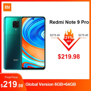 "Versão Global Redmi Nota 9 Pro 6.67 ""Screen 5020mAh Smartphone NFC Snapdragon 720g Octa Core 64MP Quad Camera 6GB RAM Original"