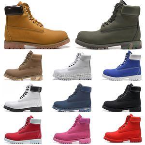 Moda Hombres Botas Diseñador TBL Hombre Para Mujeres Zapatos de Cuero Tobillo Invierno Bota Para Vaquero Amarillo Elevador Militar Triple Blanco Camo Negro Camo Trabajo de senderismo