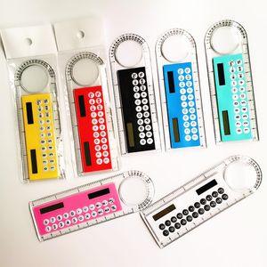 Mini Portable Solar Energy Calculator Creative Multifunction Ruler Students Gift Free DHL Shipping 3 2 0