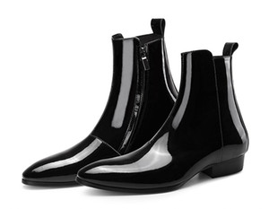 New list personality Martin boots factory outlet men's British high-top bright patent genuine leather black dress men's trend boots
