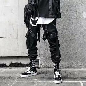 Pantalon de cargaison Joggers pour hommes Casual Hip Hop HOP HUT POCHE DE COUCHES Pantalon Mâle Pantalon Swewewear Rubans Techwear Pantalon 201118