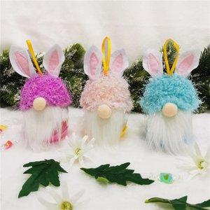 2021 Pasqua Nuovo arrivo Kids No Face Doll Pendente coniglio Regali Plastica Bambini carino Candy Box Decorazione di Natale Decorazione di Natale forniture GG12204