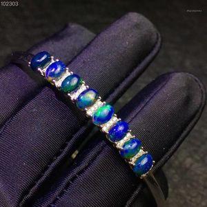 Bracciale naturale opale nero, nebulosa misteriosa cielo notturna, colori che cambia, origine australiana, 925 argento1
