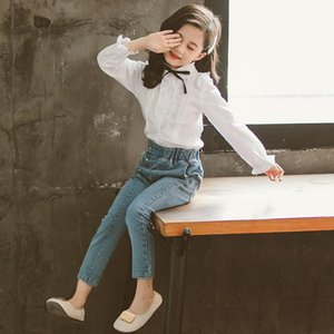 2020 Autumn teenager baby new kids girl Clothes winter lace pleated white shirt tops + jeans pants 4 5 6 7 8 9 10 11 12 Year