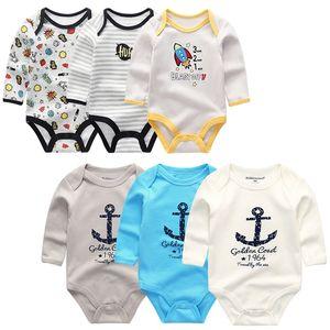 KiddieZoom New Baby Boy Bats Body Manga Larga Algodón Bebé Bebé Muchacha Ropa Recién Nacido Bebe Bebe Infantil Ropa 201216