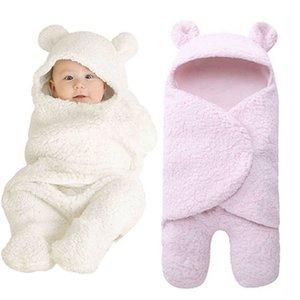 Unisex Infant Baby Hooded Wrap Blanket Fleece Newborn Swaddle Blankets Babies Sleeping Bag Swaddling Blanket 0-12 Month 201022