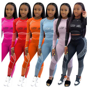 New arrival Women Clothes Tracksuits Two Piece Set Fashion Letter Print Long Sleeve T Shirt Pencli Pants Suits Casual Ladies Sports Suits