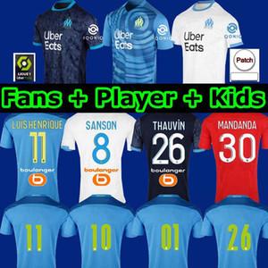 Olympique de Marsella Maillot Om Soccer Jersey Men Kids 2020 Maillot de pies 20 21 Thauvin Benedetto Tercera camisa de fútbol Aamavi Álvaro