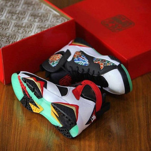 Jumpman 7s Sneaker Greater China For Women Men Basketball Shoes Chinese Dragon 2020 White Black Red Sport Sneakers Chaussures Us5 .5