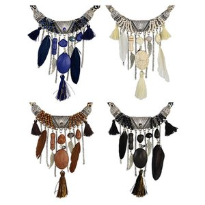 Blue Black White Brown Bohemian Feather Chain Necklace Tassel For Women Girl Best Friend Fashion Jewelry Gift