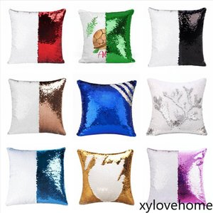 40X40cm Sequins Mermaid Pillow Case Sublimation Cushion Cover Hot Transfer Printing DIY Decorative Home Sofa Pillows Case Decor Fashion Gift