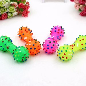 Factory price Shaped Dotted Dumbbell Dog Puppy Squeeze Colorful Squeaky Faux Bone Pet Chew Toys For Dogs