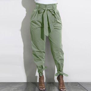 High Waist Harem Pants Bow Tie Ruffle Women AutumTrousers Belted Casual Pants Bottom Female Trousers Streetwear femme pantalon 201109