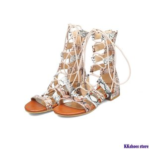 2020 new arrival summer ankle boots for women zip lace up gladiator boots fashion casual low heels sandals women