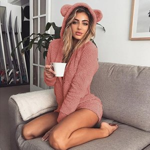 liva girl women Pajama Kigurumi for Adults Autumn Winter Hooded Rabbit Ear Fleece Onesie Women Velvet Onesies Jumpsuit Pajamas Y200110