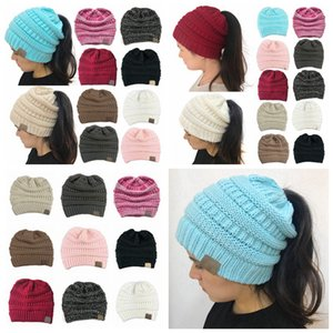 Women Knitted Ponytail Caps Fashion Solid Color Ponytail Beanie Winter Warm Wool Knitting Hat Party Hats Supplies 10styles RRA3718