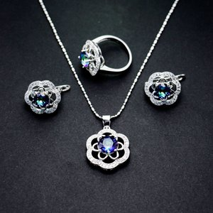 New Pattern Jewelry Suit Petal The Shape Of Zirconium Shi Erhuan Necklace Ring Bride Three-piece