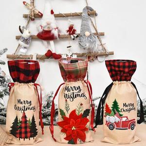 Bottiglia di Natale Plaid Vino copertura Champagne coperchi per bottiglie di Natale floreali Auto Vino Bag Xmas vino Borse Partito Dinner Table Decoration BWC2666