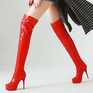 Fashion Thigh High Boots Women Autumn Winter Over Knee Boots Sexy Platform High Heels Fetish Red White Shoes Woman Plus Size 48 201007