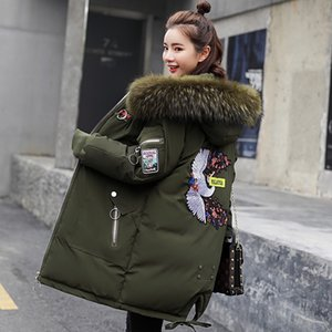 LUZUZI female long parkas plus size Korean thick large fur collar women's winter jacket loose coat down cotton overcoat