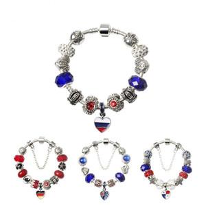 European and American Femmes Hommes Bracelet National Drapeau Heart Pendentifs Bracelets En alliage Cristal Perles Drop Huile Bijoux Accessoires