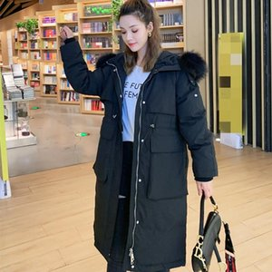 New Thicken Down Jacket Women's Long Stylish White Duck Down Jacket 2020 Winter Relaxed Fit Thick Hoodie Loose Raccoon Collar