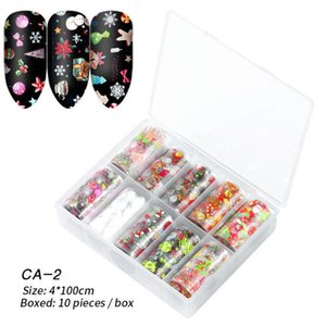 quality chrismas stickers 10 Rolls Nail Foils Mixed Nail Art Stickers Colorful Transfer Foil Wraps Adhesive Decals Paper Nails Decoration