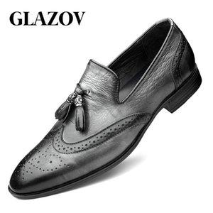 Glazov Marke Lackleder Mens Loafers Hochzeit Kleid Schuhe Schwarz Gray Monk Strap beiläufige Art und Weise der Männer Beleg auf Schuhe 36-48