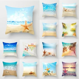 Summer Vacation Throw Pillow Case Sea Coconuts Tree Starfish Tropical Cushion Covers for Home Sofa Chair Decorative Pillowcases