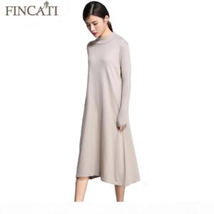 Women Sweater Dress Autumn Winter Cashmere Blending Half Turtleneck Casual Long Loose Soft Femme Dresses Vestidos T191130