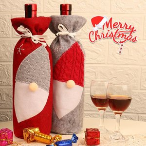 Red Wine Bottle Cover Bags Santa Faceless Gnome Christmas Decoration Party Decor Bottles Cover 2 colors BWE3048
