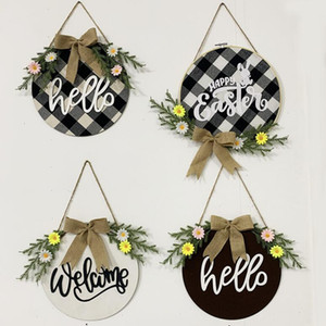 Easter Wreath Black White Gum Handcrafted New Year Holiday Wreath Door Wall Garland Christmas Decoration for Home Farmhouse GWD4359