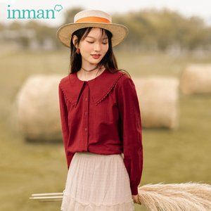 INMAN 2020 Autumn New Arrival Vintage Peter pan Collar Large Lapel Wavy Edge Embroidered Cotton Lantern and Long Sleeve ElegantA1111