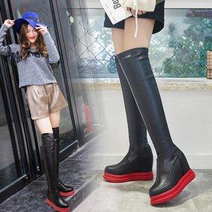 over-the 무릎 지퍼 솔리드 여성 부츠 높은 쐐기 캐주얼 패션 긴 부츠 버클 PU 라운드 발가락 간결한 플랫폼 겨울 신발 1