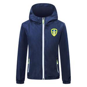 2020-21 Leeds hommes veste de football zipper soccer hiver football coupe-vent coupe-vent capuche manteau de veste Lichtgevende Courir Vestes