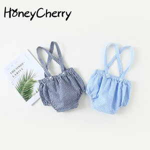 Summer New Baby Small Lattice Braces Body Pants Loose Cotton And Thin Pants. Girl Jumpsuit Overalls Kids F1221