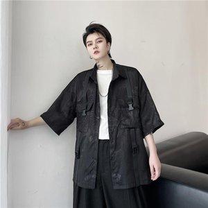 M-2XL Men Summer New Dark Dragon Embroidery Double Pocket Casual Short Sleeve Shirts Male Loose Streetwear Hip Hop Shorts