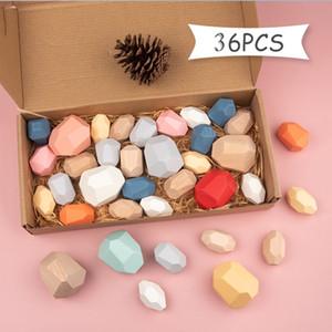 36pc Bambini in legno pietra pietra Jenga Building Block Giocattolo educativo Pietra in legno per bambini impilabile gioco Rainbow Toy 1020