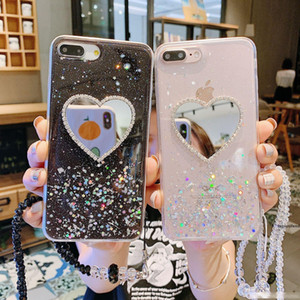 For Iphone Xs Max Xr Phone Case Love Mirror Glitter Powder 6 7 8 X Plus TPU All Inclusive Soft Cell Phone Cases